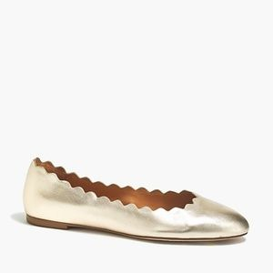 J. CREW - Women's Metallic Scalloped Flats/8M